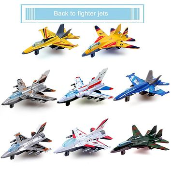 Alloy Military Model Toy Lifelike Warplane Kids Children Fighter Plane Pull Back Airplane Aircraft Desk Toy Birthday Xmas Gift