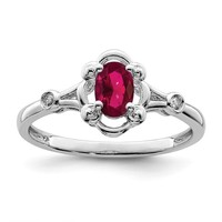 Sterling Silver Created Ruby And Diamond Ring