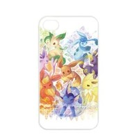 Pokemon Popular Cute Eevee Pikachu Apple iPhone 4 4S TPU Soft Black or White Cases (White)