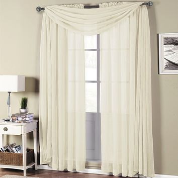 Ivory Abri Rod Pocket Crushed Sheer Curtain (Single Panel or Scarf)