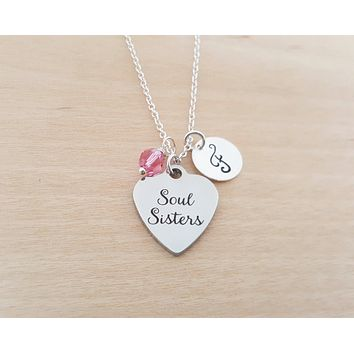 Soul Sisters Charm - Swarovski Birthstone - Initial - Personalized - Sterling Silver Necklace / Gift for Her - Best Friend Gift