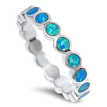 Prime Jewelry Collection Select Your Color Sterling Silver Womens Stackable Wedding Eternity Ring
