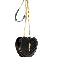 Small Love Heart Chain quilted leather shoulder bag