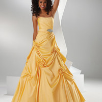 FLIRT by Maggie Sottero Prom Dresses-Daisy Yellow Swirl Gathered Ball Gown - Unique Vintage - Bridesmaid & Wedding Dresses