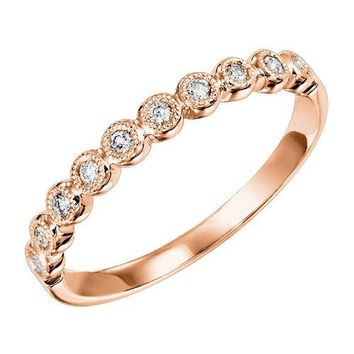 10K Rose Gold .12cttw Bead Set Round Station Diamond Stackable Ring