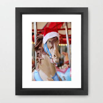 Santa Horse Print, Christmas Photograph, Carousel Picture, Holiday, December, Santa Claus, Hat, Cheer,  Humor, Stallion, merry go round, joy