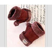 UGG Fur One Half Finger Gloves
