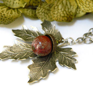 Lampwork Necklace, Maple Leaf, Artisan Made, Antique Silver Chain, Handcrafted Necklace, Long Necklace, Autumn Necklace, Acorn Necklace