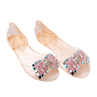 Manual Beands Transparent Jelly Shoes Beach Bowknot Peep-toe Sandals   champagne