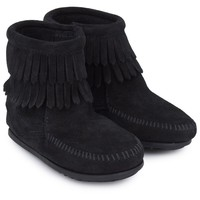 Black Double Fringe Ankle Boots