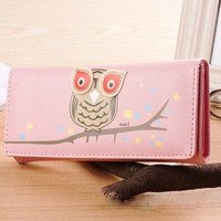Cartoon Owl Long Wallet