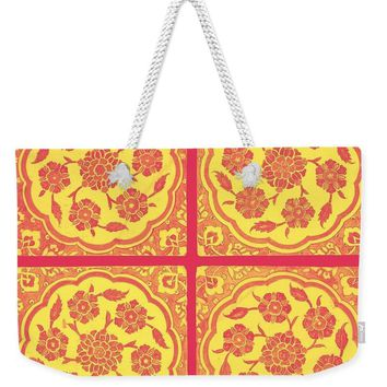 An Ottoman Iznik Style Floral Design Pottery Polychrome, By Adam Asar, No 14h - Weekender Tote Bag