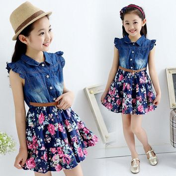 hot teenage girls denim floral dress new summer dresses for girls 10 years baby girl clothes children vestidos infantis