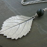 Large real leaf necklace, fine silver hydrangea leaf necklace, foliage pendant, nature jewelry, gift for garden lover, artisan handcrafted