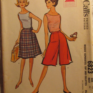 SALE Uncut 1960's McCall's Sewing Pattern, 6823! Size 16/Bust 36/Women's/Misses/Culottes/Separates/Tops/Sleeveless Shirts/Wrap Skirt/Summer