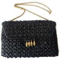 Rodo Straw Purse in Black with Gold Accents Signed