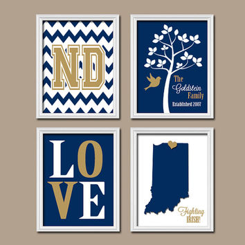 University Notre Dame State College Custom Family Monogram Initial State Love Irish Tree Wedding Date Artwork Set of 4 Prints WALL ART Decor