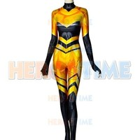 High Quality Queen Bee Cosplay Costume 3D Print Chloe Queen Bee Miraculous Ladybug Spandex Suit Zentai Bodysuit Custom Made