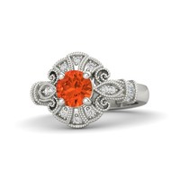 Round Fire Opal Platinum Ring with Diamond & White Sapphire