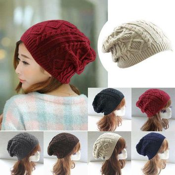 ICIKU7Q Women New Design Caps Twist Pattern Women Winter Hat Knitted Sweater Fashion beanie Hats For Women 6 colors