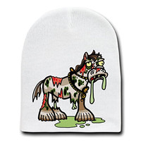 'Zombie Clydsdale Horse' Funny Animal Zombie Cartoon - White Beanie Skull Cap Hat