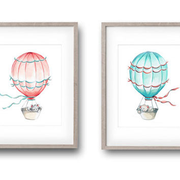 Hot Air Balloons, Nursery Art, Set of 2 Prints, Kitten, Aqua and Coral Nursery, Children's Art, Print, Kids Wall Decor