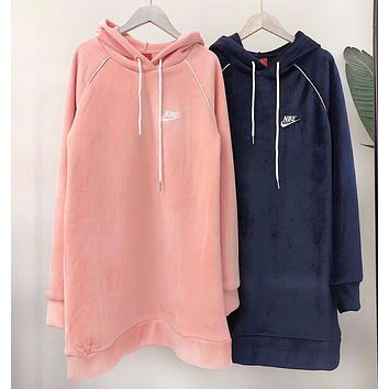 NIKE New fashion bust embroidery letter velvet hooded long sleeve sweater top