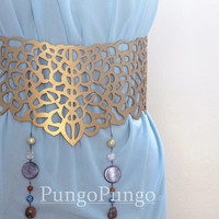 Gold Filigree Belt - Inspired by Daenerys Targaryen's Qarth Blue Gown - Game of Thrones Khaleesi Cosplay Costume Accessory