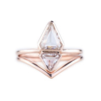 Double Geometric Jane Rose Gold Ring