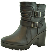 Womens Ankle Boots Buckle Accent Chunky Heel Shoes black