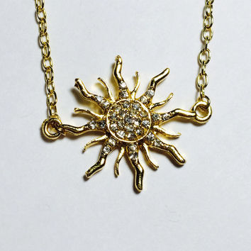 Rapunzel Tangled inspired necklace Crystal covered Sun in Gold for Hannah S