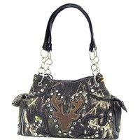 Soft Camo Deer Head Camouflage Purse (Brown Satchel Chain Purse)