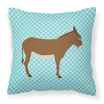 Cotentin Donkey Blue Check Fabric Decorative Pillow BB8023PW1414