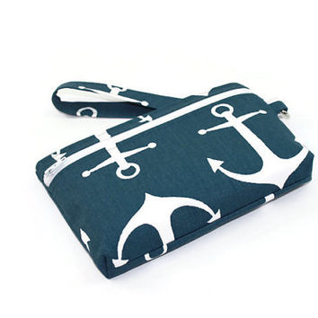 Nautical iPhone 6 / Samsung Galaxy S4/S5 /  Wristlet Wallet / Cell Phone Clutch with Removable Strap