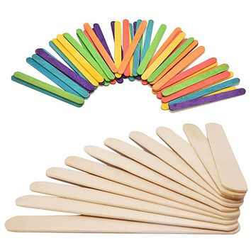 Wooden Popsicle Sticks Kids Hand Crafts Art Ice Cream Lolly Cake Sticks Puzzle Making Funny Children Toy Gifts