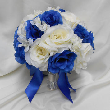 Wedding Bridal Bouquet Your Colors 2 pieces Ivory  Royal Blue Roses with Groom's Boutonniere  Centerpiece Accessories