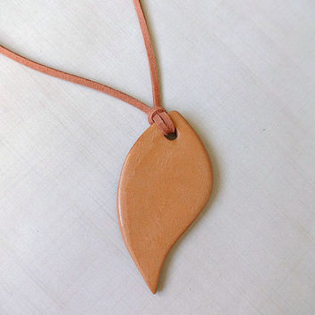 Large Leaf Terracotta Diffuser Necklace - Essential Oils - Faux Suede, Satin Cord - unglazed Terra Cotta Clay Pendant Nature Aromatherapy