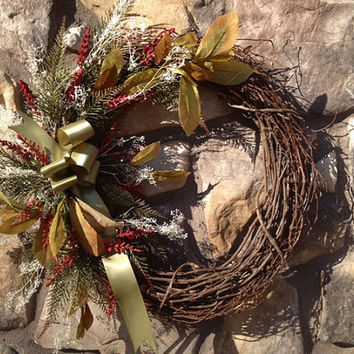 Front door wreath with olive ribbon by AllOccasionsWreaths on Etsy