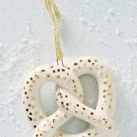 Ceramic Pretzel Ornament by Anthropologie in Ivory Size: One Size Holiday
