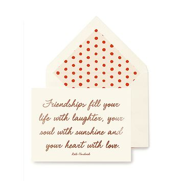 Min. Case Pack // Friendships Fill Your Life Greeting Card, Single Folded Card or Boxed Set of 8