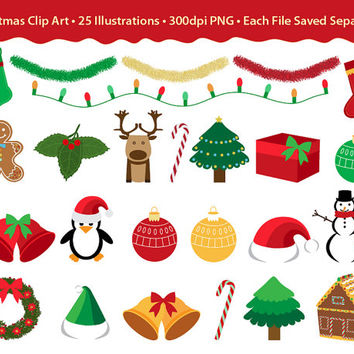 Christmas Clip Art Bundle - Holiday Decor, 25 red, green & gold clipart design elements for holiday projects, crafts, card making, invites