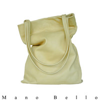 Everyday Leather Tote in Soft Goatskin Leather, Palomino Cream