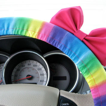 The Original Beautiful Multicolor Rainbow Bright Steering Wheel Cover with Matching Bright Brink Pink Bow