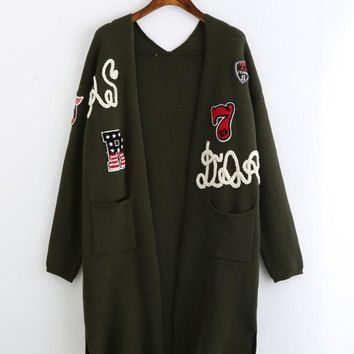 Green Open Front Longline Slit Side Patched Cardigan