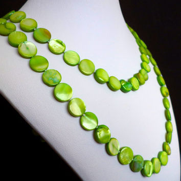 Lime Green Extra Long Shell Pearl Necklace