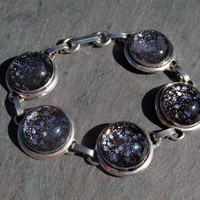 Silver Glitter and Black Painted Glass Dome Bracelet Jewelry