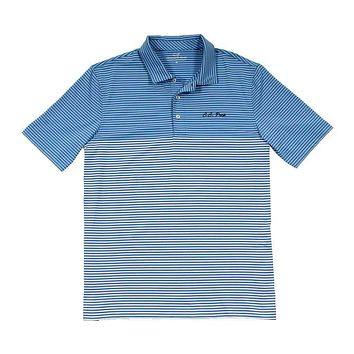Custom Newport Stripe Performance Polo in Hull Blue by Vineyard Vines