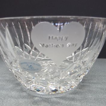 Hand Cut glass Mothers day bowl bowl HAND POLISHED crystal signed
