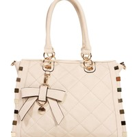 Sale-ivory Quilted Square Bag