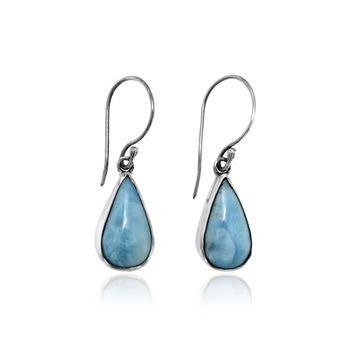 Sterling Silver Dangle Earrings with Larimar Cabochon in a Teardrop Setting
